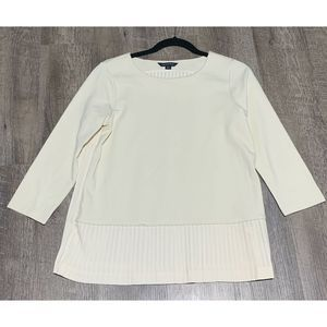 Lands' End Size XS 2-4 Womens Cream Pleated Top